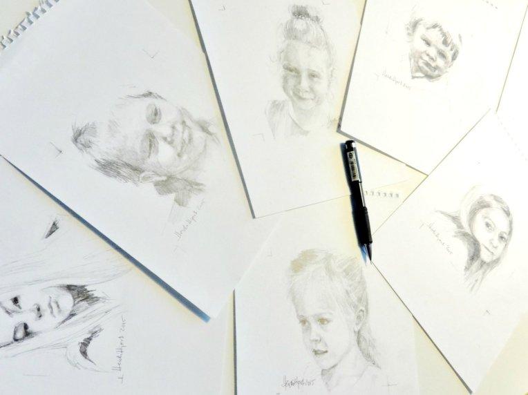 Mini pencil portraits by Heidi Hjort |heidihjort.com